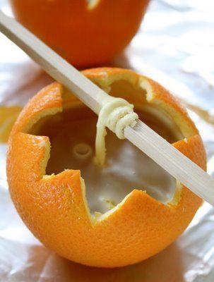 DIY bougie mandarine Je le faisais quand j'étais petite...il y a bien longtemps, ça laisse une odeur super agréable