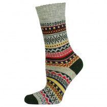 Wollen grijze sokken met ingebreide motieven