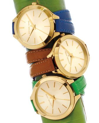 I want this in emerald! Michael Kors Mid-Size Leather Runway Watch & Double-Wrap Watch.