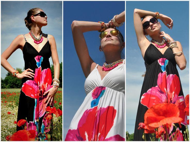 květované maxi šaty