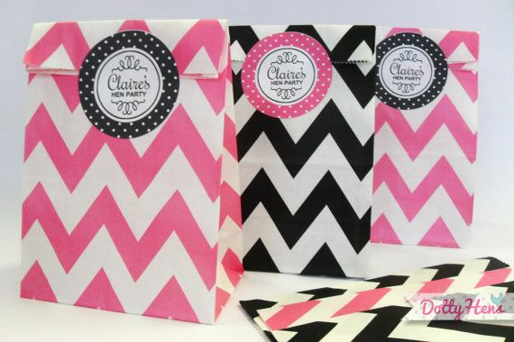 12 x Hen Night Party Paper Goodie Bags with personalised stickers - zig zig loot favours on Etsy, $6.65