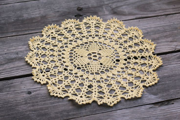 Crochet round doily, lace doily in beige color for home decor More