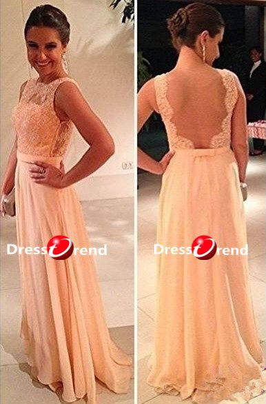 Lace peach dress.