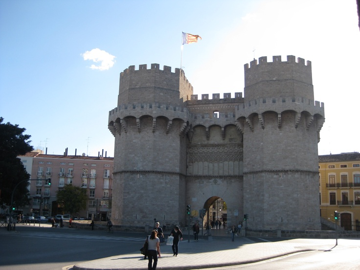 Torres de Serranos - one of the historic gates to the old town in Valencia.  Close to the hotel we use on our Valencia: Olives and Oranges cycling holiday.