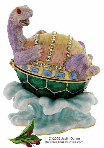 Trinket Box: Turtle On Back in Water