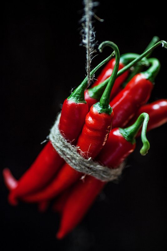 Peppers-Hot chili papper on a rope natural red and natural foodstyle my style & life style