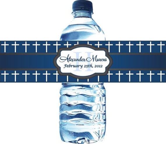50 Baptism Personalized Water Bottle Labels by LabelsRus on Etsy, $29.95