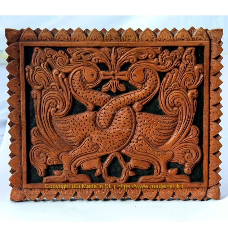 Wooden wall hanging 8 - Hansa Puttuwa (Entwined swans)