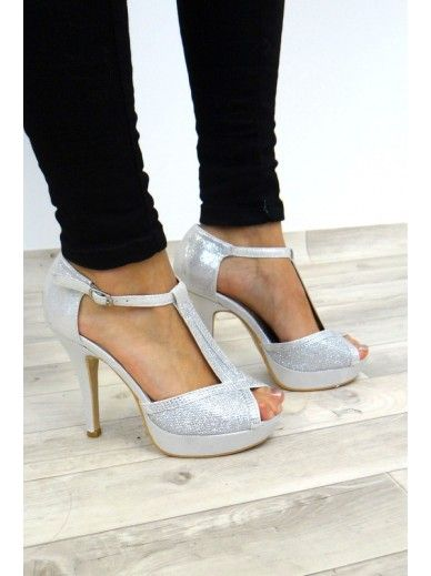 49567c5a5e7b Silver glitter heels with diamante trim. Platform heel and t-bar design.  Very comfortable considering the heel height! True to size.