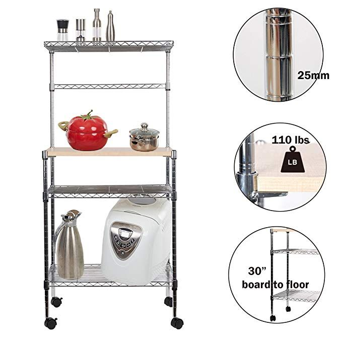 Lucky Tree 49a Tall 4 Tire Rolling Baker Rack Kitchen Microwave