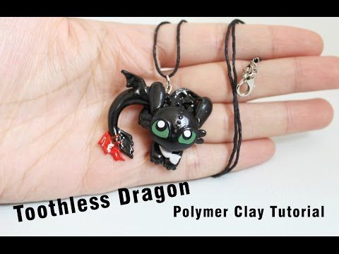 Toothless Night Fury Dragon Pendant Polymer Clay Tutorial (How to train your dragon) - YouTube