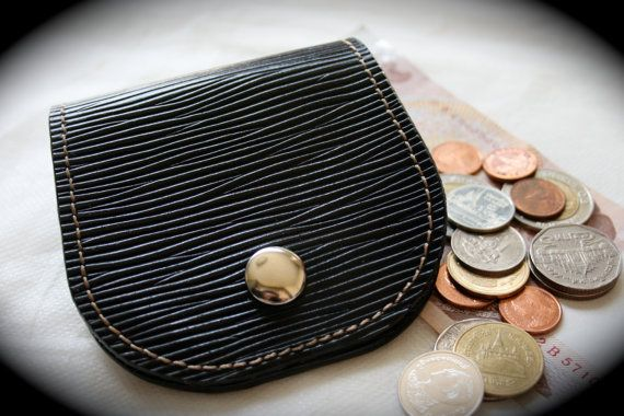Handmade Leather Coin Purse with Snap Button Black by Mygoth