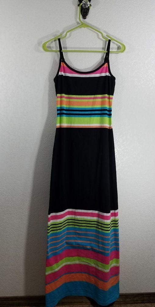 DEREL HEART WOMEN'S MAXI DRESS. STYLE: SLEEVELESS ADJUSTABLE STRAP MAXI DRESS- LONG. COLOR: BLACK WITH MULTI-COLOR STRIPES. SIZE: MEDIUM. | eBay!