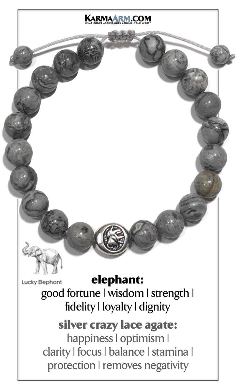 OBTENEZ DE LA CHANCE   Argent fou agate dentelle   Bracelet à nouer éléphant   – Bracelets ॐ Grey Natural Gemstones • Reiki Charged // Energy / Men's & Women's / Karma Arm