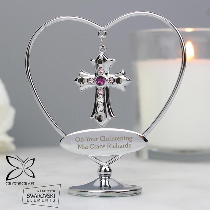 Crystocraft Silver Plated Cross Ornament With Crystal
