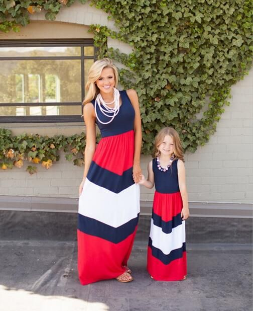 Hot Sale Mother And Daughter Clothes Straight Vestidos Madre E Hija Striped Ankle-length Children Dress Up For Girls Holidays