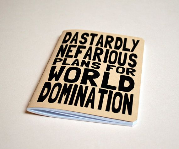 Handmade notebook World domination by purplecactusdesign on Etsy, $7.50