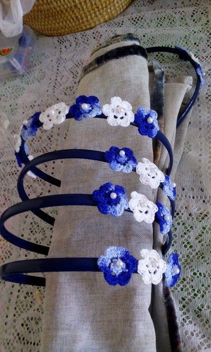 Headbands. Cintillo con flores a crochet