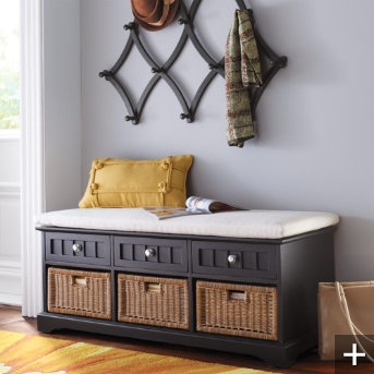 Storage benchWicker Baskets, Mudroom, Coats Racks, Entryway Benches, Beautiful Places, Mud Room, Front Doors, Chelsea Storage, Storage Benches