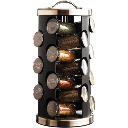 21-Jar Prefilled Revolving Spice Rack, Black