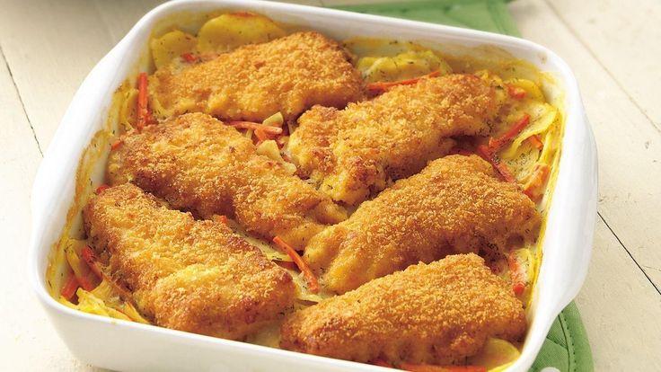 Vous aimez les repas tout en un?  Essayez celui-ci fait de pommes de terre au fromage en boîte, de filets de poisson congelés et de carottes.