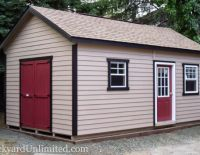 12x20 Garden Shed with Lap Siding, Additional 9-Lite Prehung Door, 8ft Walls, Custom Paint and 10ft Ridge Vent