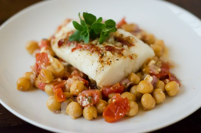 foil-baked fish with chickpeas, feta, and roasted tomatoes - sounds delicious and nutritious!