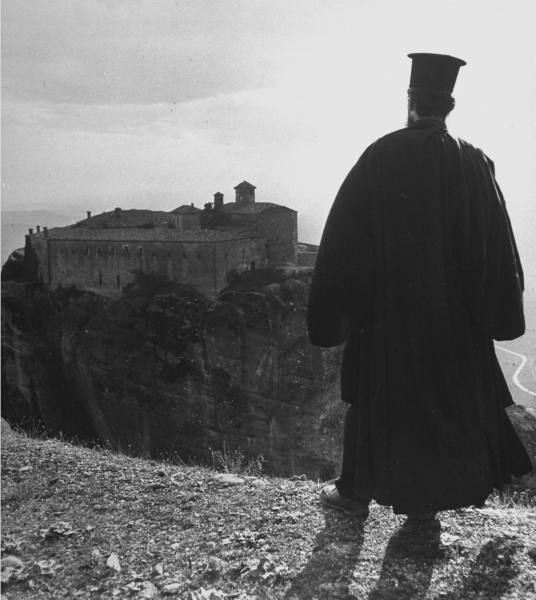 Civil War/Greece An Orthodox priest looking toward the monestary.Location:Louzesti, Greece Date taken:December 1947 Photographer:John Phillips