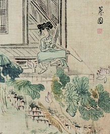 """Woman by a Lotus Pond  From """"Album of Genre Paintings on Women"""" by Shin Yun-bok (1758-after 1813), Joseon, ink and light color on silk, 29.6×31.4cm"""
