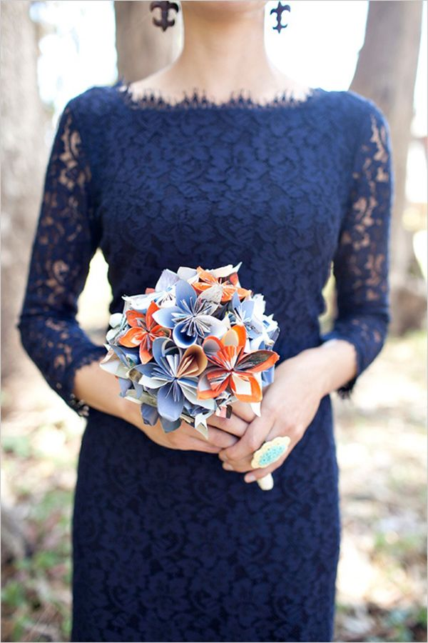 Gorgeous and chic navy blue long sleeve bridesmaids dress - wrong colour would be lovely in green!