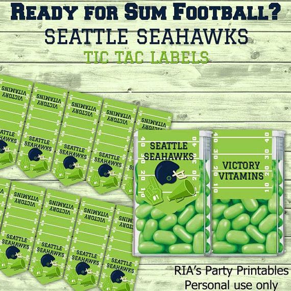 Seattle Seahawks Tic Tac Labels By RIAsPartyPrintables On
