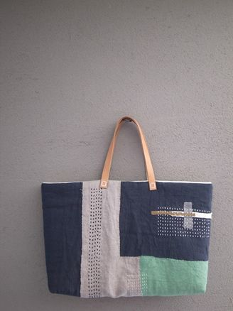 布と刺し子のコラージュバッグ