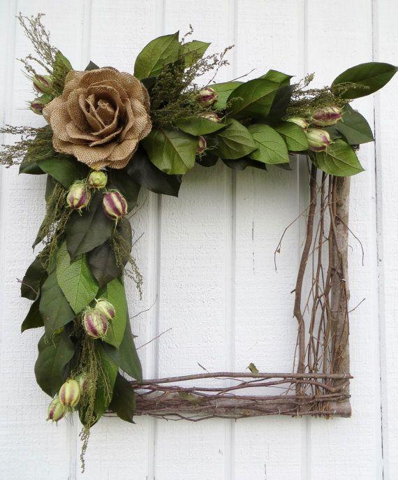 Square Wreath Square Twig Wreath Dried by CreationsByCarol13