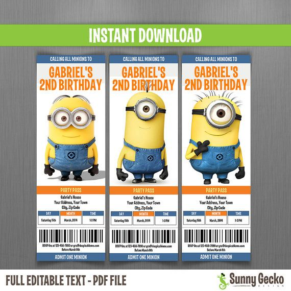 Despicable Me Minions Birthday Ticket Invitations - Instant Download and Edit with Adobe Reader on Etsy, $10.00