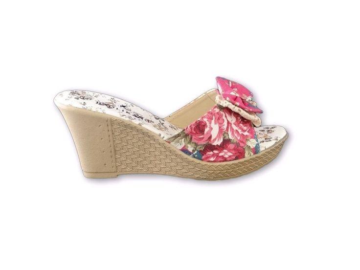 Ladies Womens High  Wedge Heel Casual Flowers Bow Summer Slip On Mules Sandals