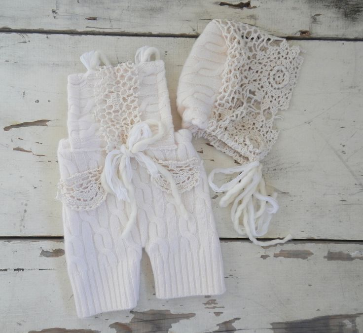 Made from soft angora/cashmere knit and adorned with vintage lacecomes with matching bonnet6 mo size
