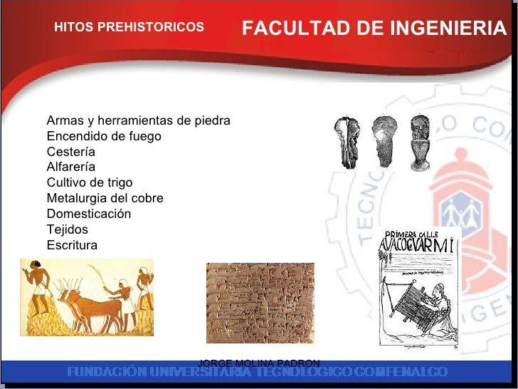 FACULTAD DE INGENIERIA FACULTAD DE INGENIERIA HITOS PREHISTORICOS Armas y herramientas de piedra Encendido de fuego Cester...