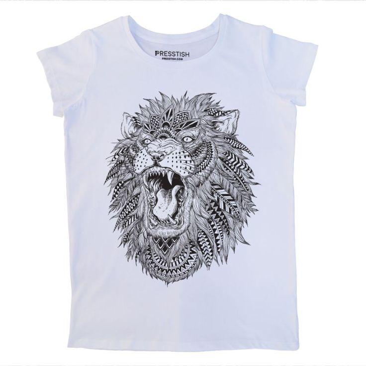 Abstract Lion - Beyaz Kadın Tişört