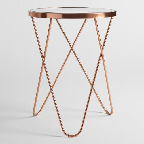 Rose Gold Tomlin Accent Table with Glass Top | World Market. End table next the chaise.
