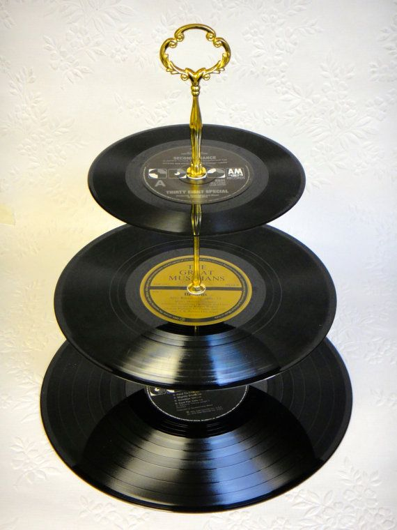 3 tier vinyl record cupcake stand black and gold cupcake stands etsy and craft. Black Bedroom Furniture Sets. Home Design Ideas