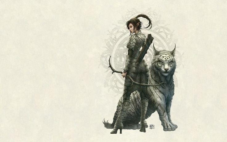 Tigres archers fantaisie guerriers elfes d'art d'œuvres d'art arc fille elfen longues oreilles 1920x1200 fond d'écran