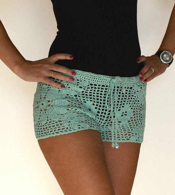 Crochet shorts Boho shorts lace shorts mint green by TaramayKnit