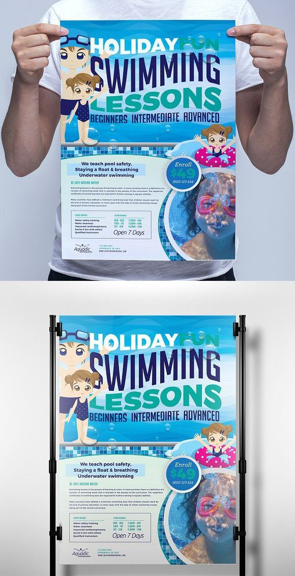 A3 Swimming Pool Poster Template | Swimming, Swimming ...