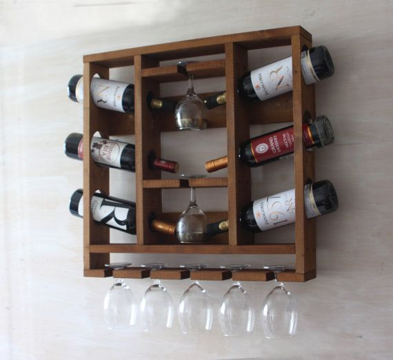 Rustic home decor Wooden open wine rack Wine by MartelMosaic