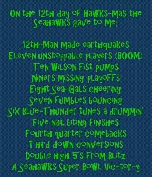 12th day of Hawkmas. Seahawks!