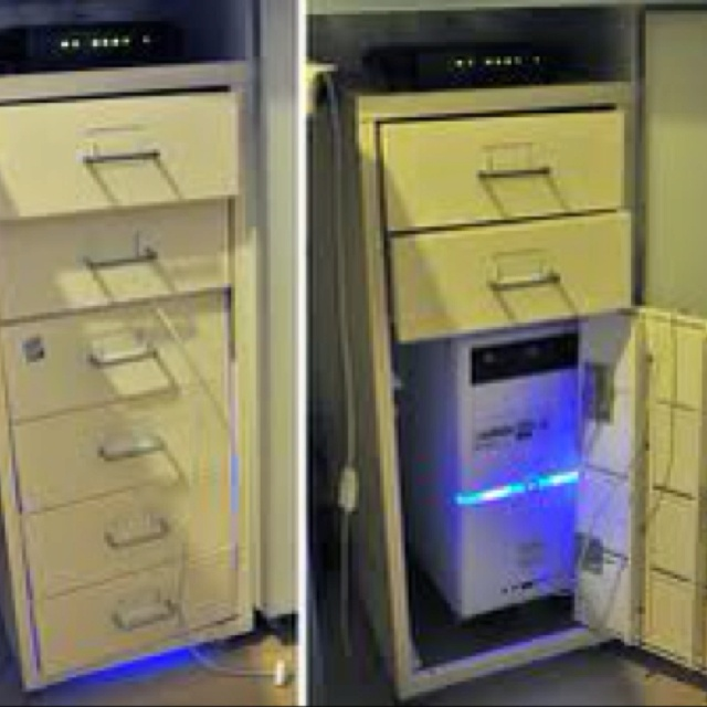 Use Old Filing Cabinet To Hide Computer Tower!