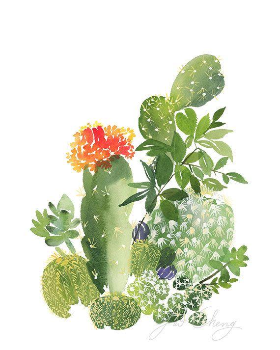 Cactus No. 3 Watercolor Art Print by YaoChengDesign on Etsy