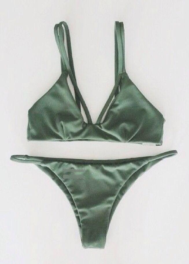 KOA Swim Twisted in Love Here Comes the Sun Olive Green Bikini