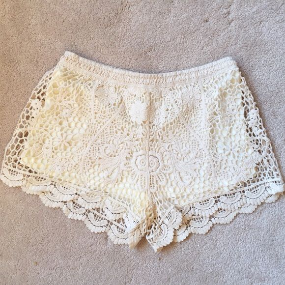 Last Pair!Flirty Crochet Cream Shorts Last pair! Soooo amazing! These crochet shorts are to die for, absolutely must haves!! Elastic waistband, lined. Pic 4 from Pinterest, Used only to show style.   100% Cotton   Ask about bundle discounts!   S:3-5, M:7-9, L:11-13  ❌No trades, no PayPal, no holds Instagram: @lovelionessie ⚜www.lovelionessie.com⚜ Shorts
