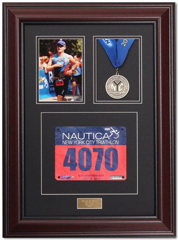 Triumph Marathon Medal Display Frame - Library Mahogany